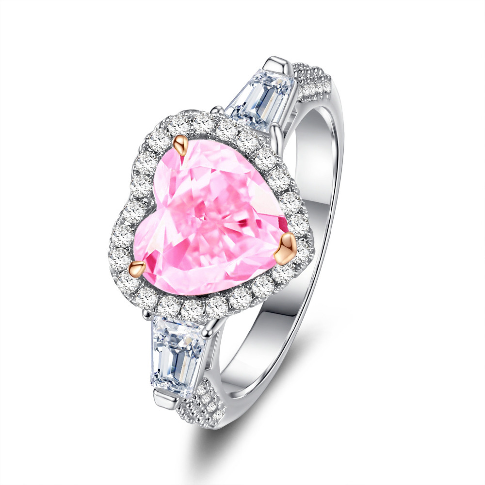 Classic CZ Pink White Wedding Bands Ring Vintage Gifts for ladies ...