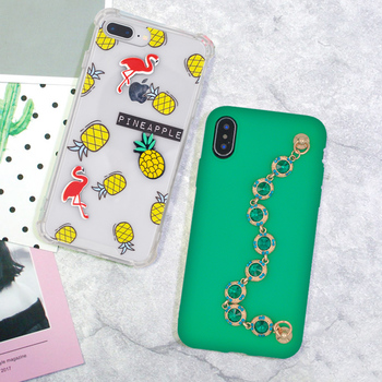 Pineapple Flamingo Crown Handmade Cell Phone Transparent Green Yellow Cover For iPhone 5 5s SE 6s 7 8 8plus X Capa Phone Case mobile phone