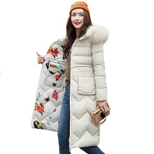 Both Two Sides Can Be Wore 2019 Women Winter Jacket New Arrival With Fur Hooded Long Coat Cotton Padded Warm Parka Womens Parkas(China)