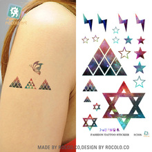 Harajuku Waterproof Temporary Tattoos For Lady Women Sexy Magic Color Hexagon Star Design Tattoo Sticker R3005