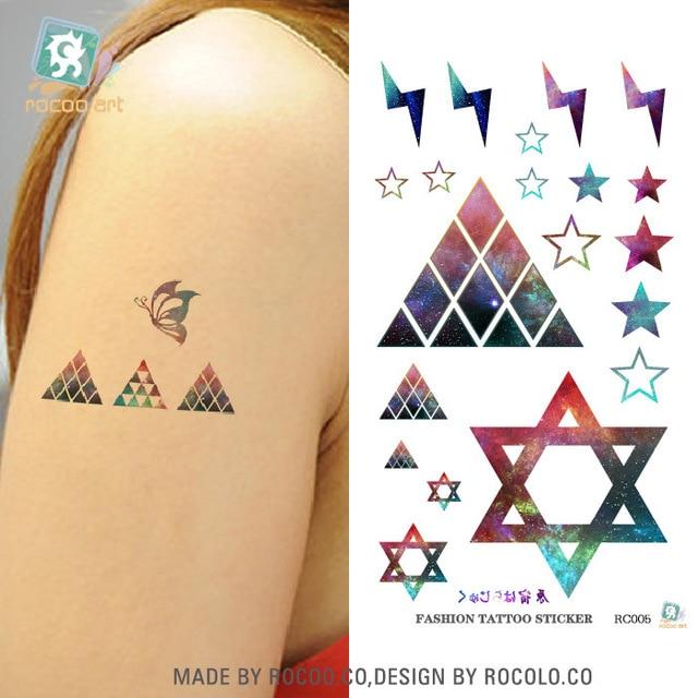 Harajuku Waterproof Temporary Tattoos For Lady Women Sexy Magic Color Hexagon Star Design Tattoo Sticker R3005