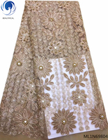 BEAUTIFICAL French lace fabric latest polyester nigerian lace fabric 2019 high quality lace sequins ML1N698