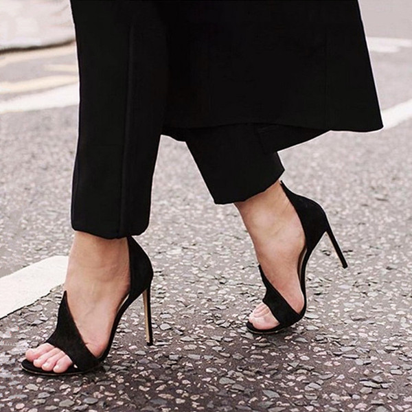 2017 New Summer Sexy Black Peep Toe High Heels Sandals Women Gladiator Shoes Woman Slip-On Fashion Party Dress Pumps Size 34-40 enmayer cross tied shoes woman summer pumps plus size 35 46 sexy party wedding shoes high heels peep toe womens pumps shoe