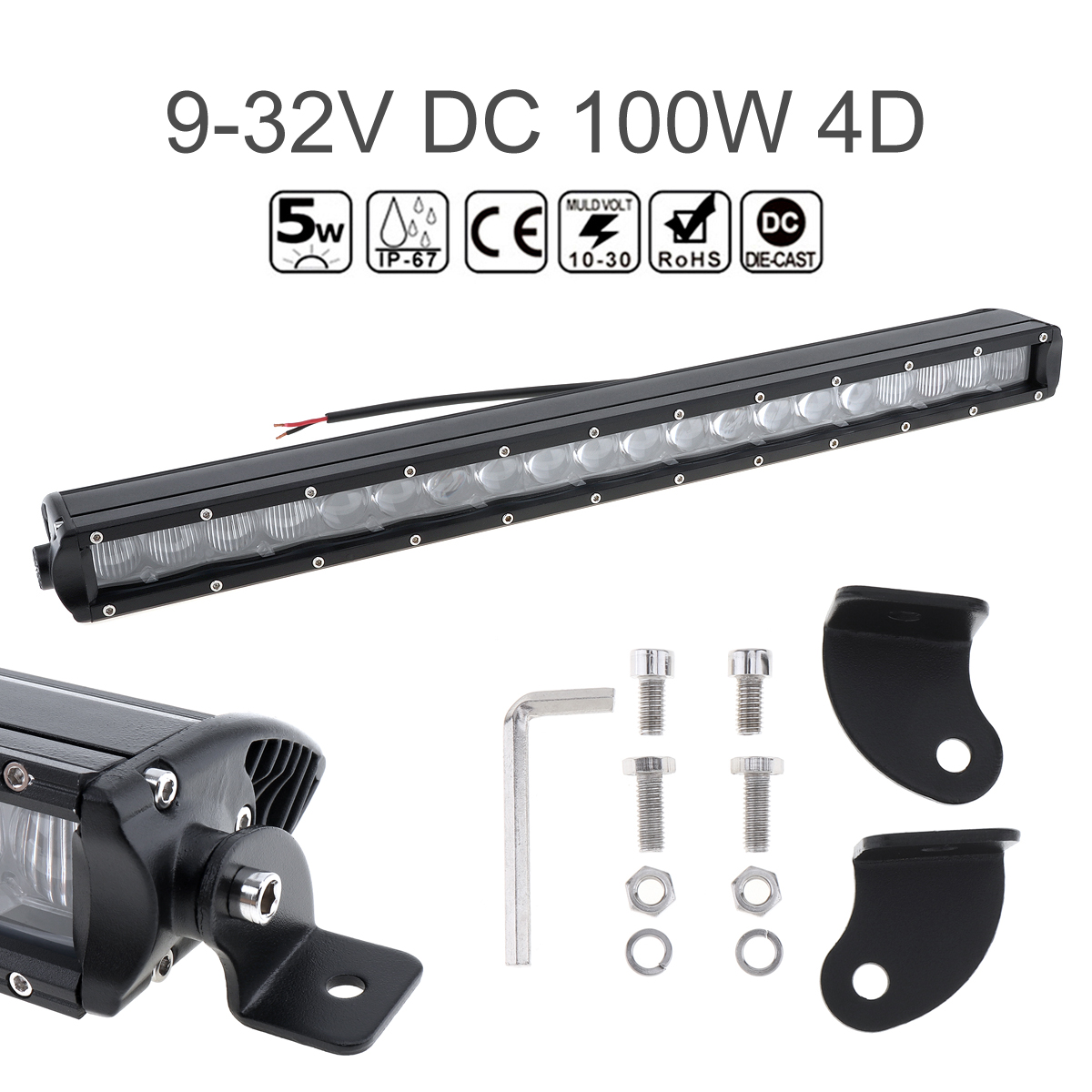 20 10000 LM 100W Waterproof Car Straight LED Worklight Bar 20x4D Combo Offroad Light Driving Lamp for Truck SUV 4X4 4WD ATV20 10000 LM 100W Waterproof Car Straight LED Worklight Bar 20x4D Combo Offroad Light Driving Lamp for Truck SUV 4X4 4WD ATV