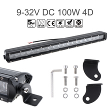 """20"""" 10000 LM 100W Waterproof Car Straight LED Worklight Bar 20x4D Combo Offroad Light Driving Lamp for Truck SUV 4X4 4WD ATV"""