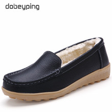 dobeyping Genuine Leather Woman Flats New Winter Plush Boat Shoe Women Keep Warm Female Loafers Moccasins Mother Cotton Shoes