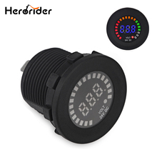Herorider DC 12V Car Motorcycle Marine Color Voltage Gauge Auto Moto LED Digital Battery Volt Meter Tester Voltmeter Accessories