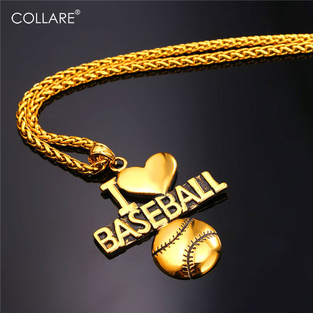 Collare Sport Gym Ball Pendant Men Gold Color Stainless Steel