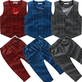 Male child suit vest set autumn child stripe trousers twinset baby 2016 children's clothing