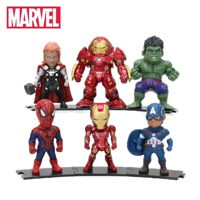 8-10 cm Pacote de 6 Marvel Brinquedos Vingadores Thanos Infinito Guerra Ironman Spiderman Ação PVC Figuras Hulk Preto panther Modelo Thor