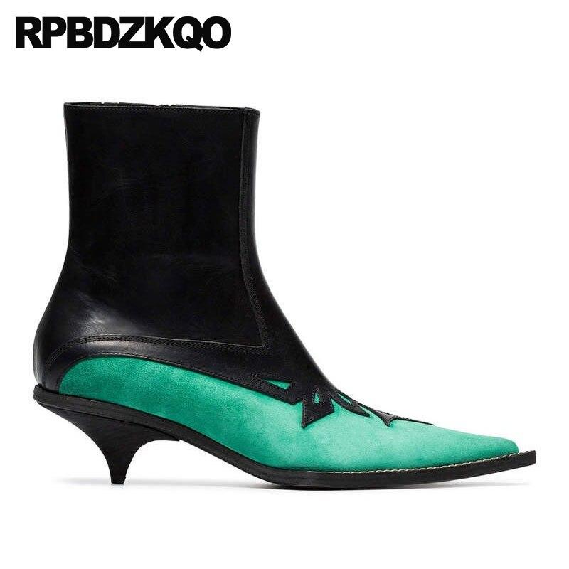 Cremallera Corto Caída 2018 Otoño Lujo Zapatos Hecho Marca Cuero Mujeres Verde Las La A Mano De Gamuza Patchwork Genuino Tobillo Punta Diseñador 1YxYwrvP