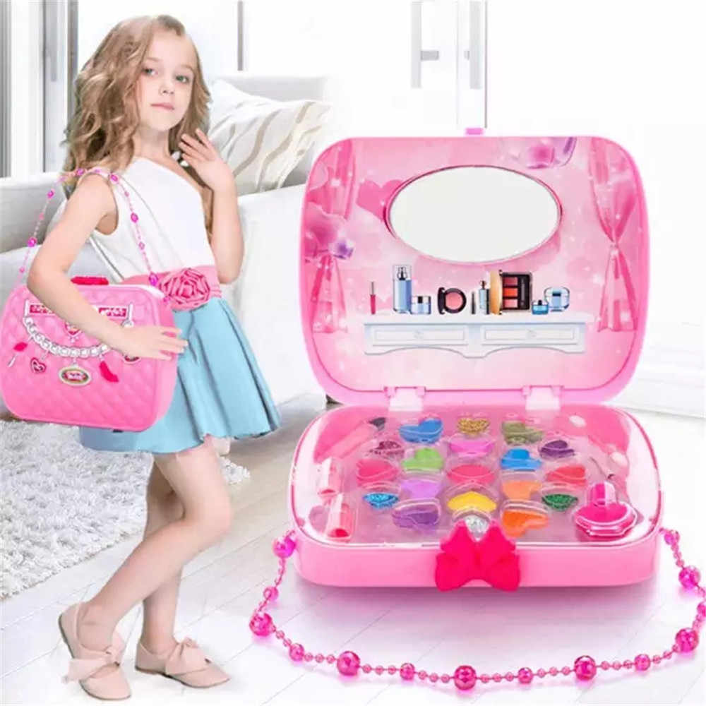 Beauty & Fashion Toys Kids Make Up Toy Set Pretend Play Princess Pink Makeup Safety Non-toxic Kit Girls Dressing Cosmetic game