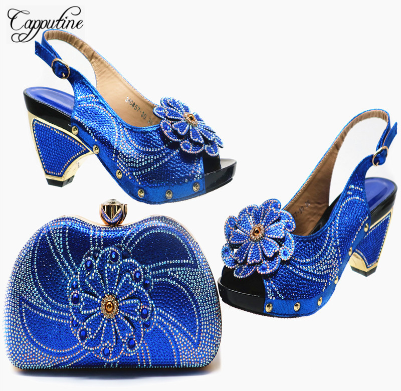Capputine Hot Sale African Shoes And Matching Bags Set For Party Summer Fashion High Heels Shoes With Purse Set 6Color On SaleCapputine Hot Sale African Shoes And Matching Bags Set For Party Summer Fashion High Heels Shoes With Purse Set 6Color On Sale