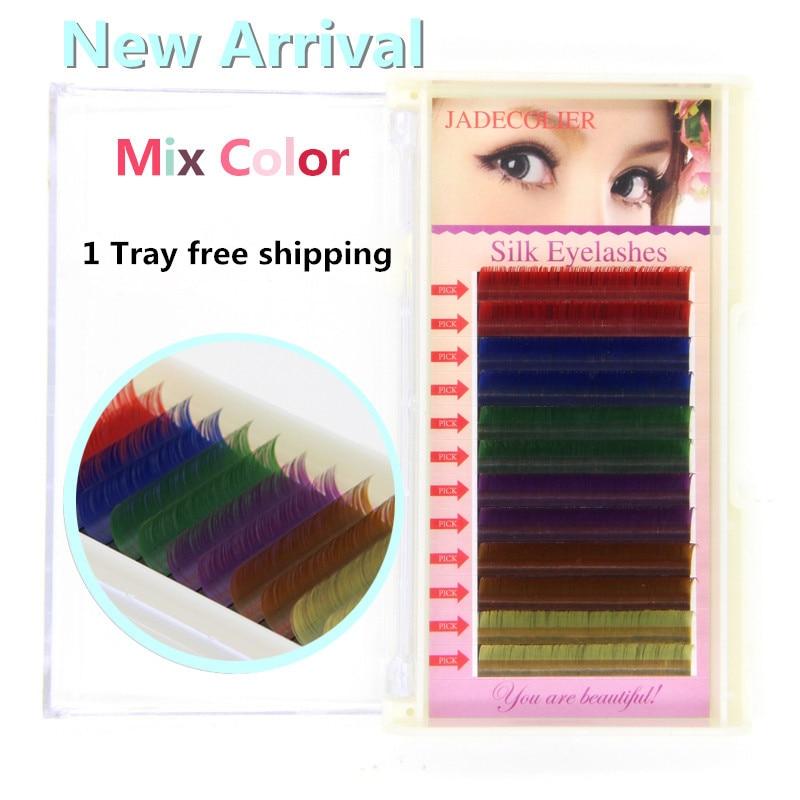 Nov 1 pladenj mix barva (6 barv) posamični podaljšek trepalnic 12 - Ličila