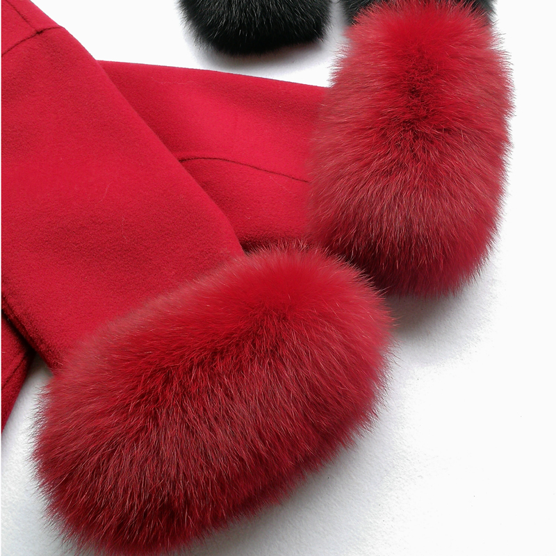 One Pair Women Winter Warm Hairy Cuff Real Fox Fur Women Clothing Accessories Natural Fur Wrist Cuffs Unisex