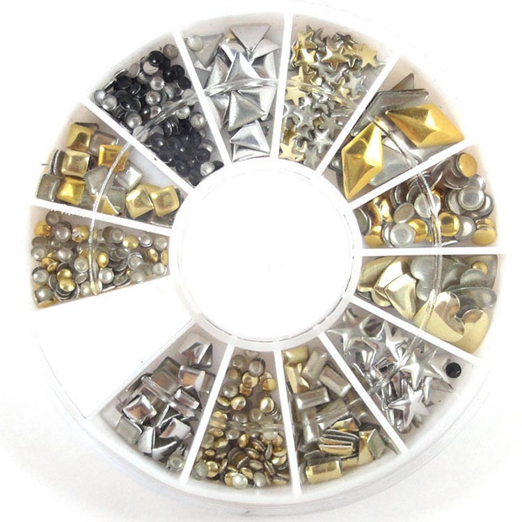 1Box(200Pcs) Mixed Acrylic Rivet For Needlework FlatBack Cabochon Scrapbook Decoration Craft DIY Embellishments Accessories(China)