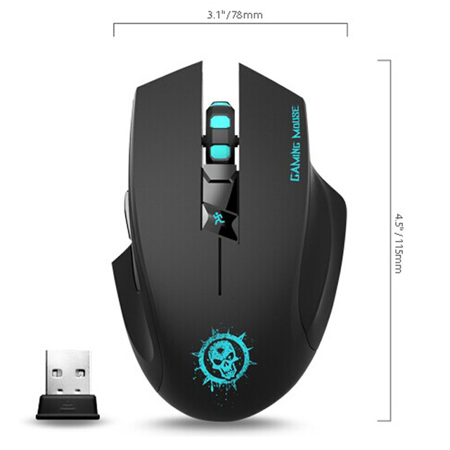 USB Wireless Optical Gaming Mouse Noiseless with 7 Button 2000 DPI