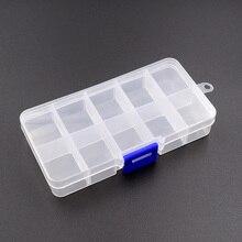 10 сеток Регулируемый прозрачный пластиковый ящик для хранения для маленьких компонентов ящик для ювелирных инструментов бисер таблетки Органайзер дизайн ногтей наконечник чехол