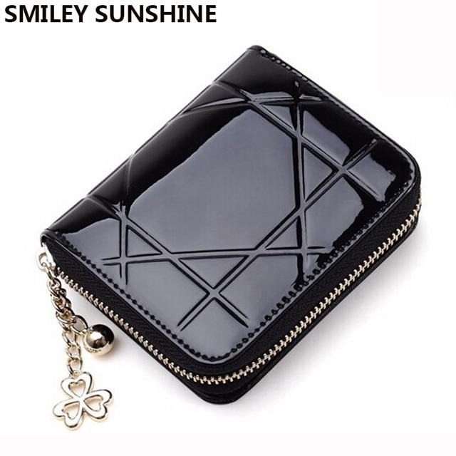 dd9975eba8 SMILEY SOLE pattent cuoio nero delle donne portafogli e portamonete  chiusura lampo della borsa della moneta