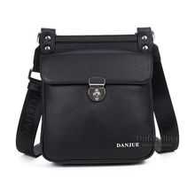 New small fashion alloy rotation lock flap cover genuine leather shoulder bag mobiles wallet gadgets holder casual messenger bag