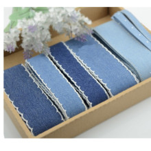 40mm/4cm wide cotton denim lacy ribbons double face autumn winter handmade ribbon  DIY bow accessories 5yard/lot