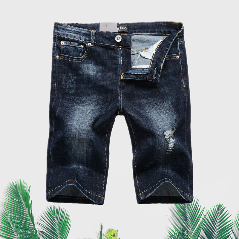 Casual Designer Stretch Dark Blue Ripped Shorts Jeans Men High Quality Cotton Brand Men`s Stretch Jeans Shorts Bermuda D1003 велосипед altair city high 28 19 2015 dark blue