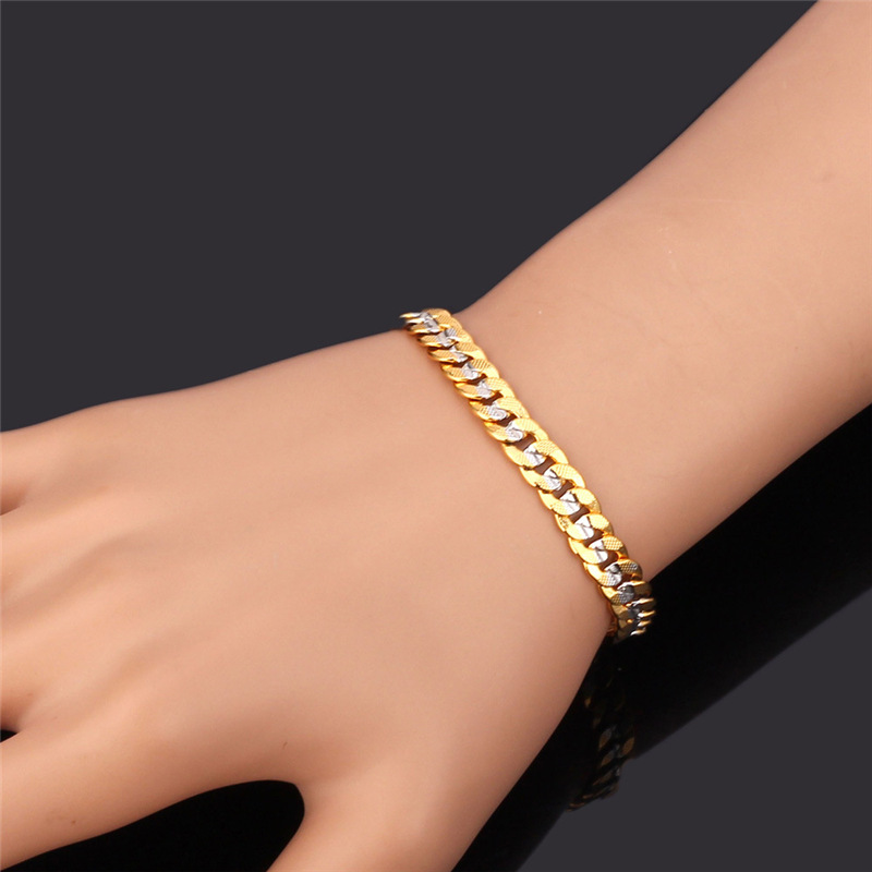 Aliexpress Com Men Two Tone Cuban Chain Bracelet And Necklace Set Jewelry Trendy 55cm 6mm Gold Color Sets Nh828 From Reliable