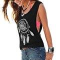 Марка Женская Мода Повседневная футболка Без Рукавов Полиэстер Печати О-Образным Вырезом Tee Топы Жилет женщин майка Одежды F1