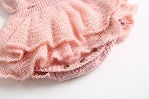Image 5 - Bebek Tulum Yenidoğan Örme Bebek Giysileri Fırfır Bebek Kız Romper Pamuk Yün Prenses Bebek Bebek Tulum Kız Elbise
