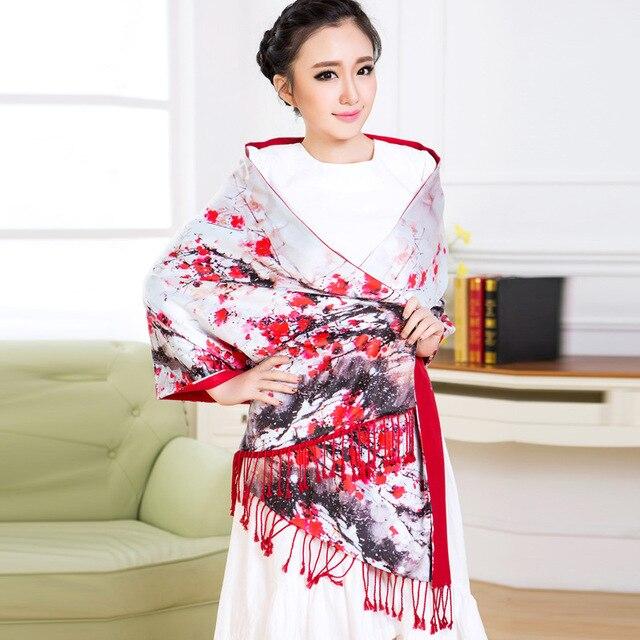 Hot Sale Women Winter Classical Plum Flower Silk Scarf Tassels Scarf Long Pashmina Shawl Fashion And Newest