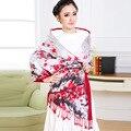 Súper ventas mujeres de invierno ciruelo clásica bufanda de seda de flores de las borlas bufanda larga del mantón de Pashmina moda y el más nuevo