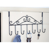 42cm Anti-rust treatment Iron craft 7 hooks metal hanging cloth, Belt, pants, keys door back hook Black/Bronze/White