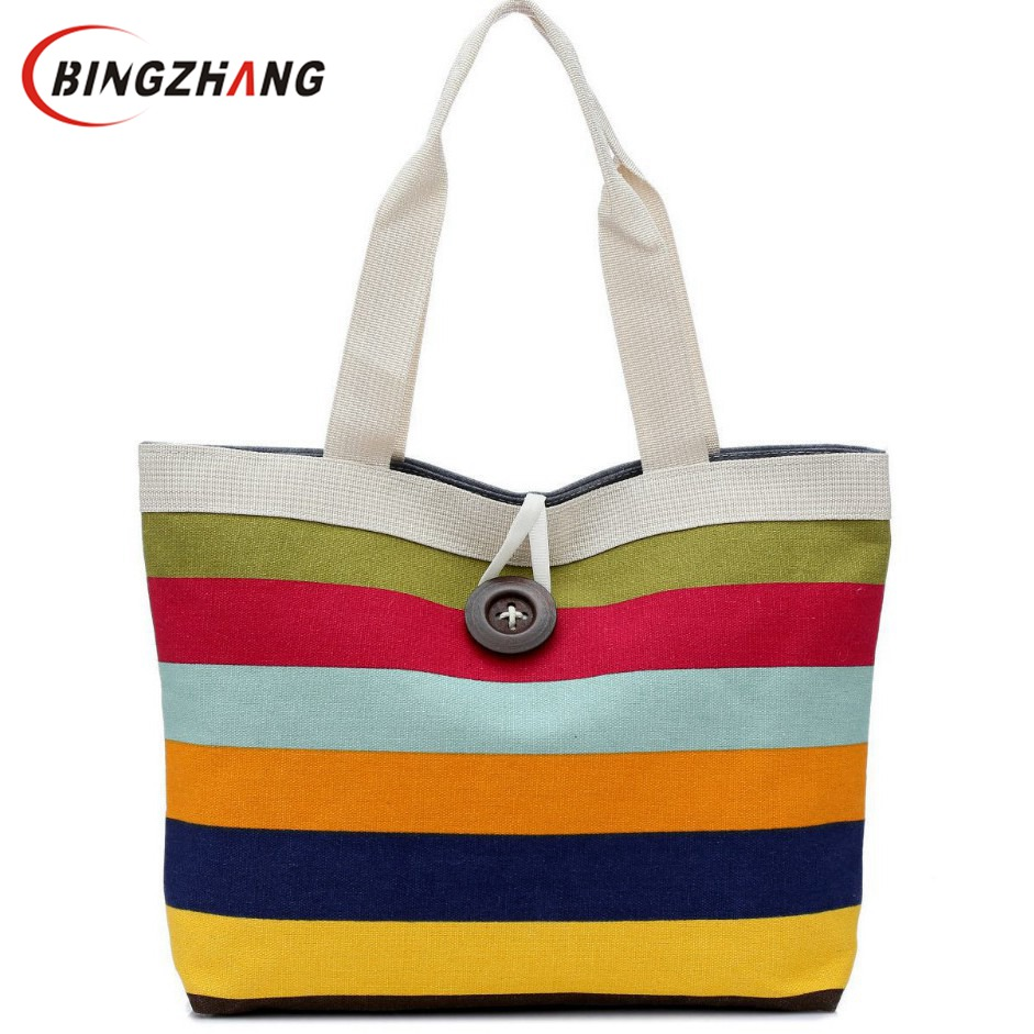 Women wave canvas shopping bag Rainbow bag big button british plaid handbags hotsale ladies party clutches shoulder bags L4-836