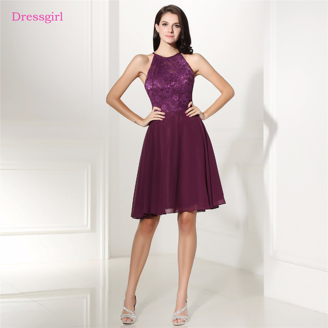 Purple 2019 Cheap Bridesmaid Dresses Under 50 A Line Halter Knee