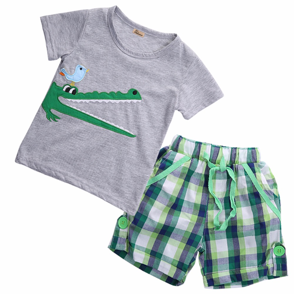 Children Toddler Baby Kids Boys Clothes Sets Summer Cute Animals Plaid Tops T-shirt Pants Shorts Outfits Size 2 3 4 5 6 7T hot sale 2016 kids boys girls summer tops baby t shirts fashion leaf print sleeveless kniting tee baby clothes children t shirt