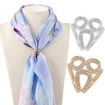 Moda cor de ouro cristal seda cachecol clipe fivela 2019 novo feminino strass guirlanda hoop corda broche pinos jóias presente