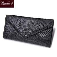 Genunine Leather Envelope Wallet Women Luxury Brand SnakeSkin Leather Embossed Wallets Womens Wallets Lady Carteras Bag