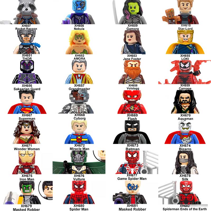 20pcs/lot Batman Spider Man Superman Thor Loki Gamora Super Heroes Building Blocks Bricks Toys for Children super heroes ghostface skeletor joker he man he man heman luke skywalker wolverine marty mcfly building blocks toys for children