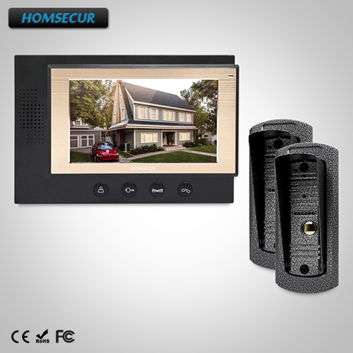 HOMSECUR 7 Wired Video&Audio Home Intercom+Metal Case Camera for Apartment (TC041+TM701-B)