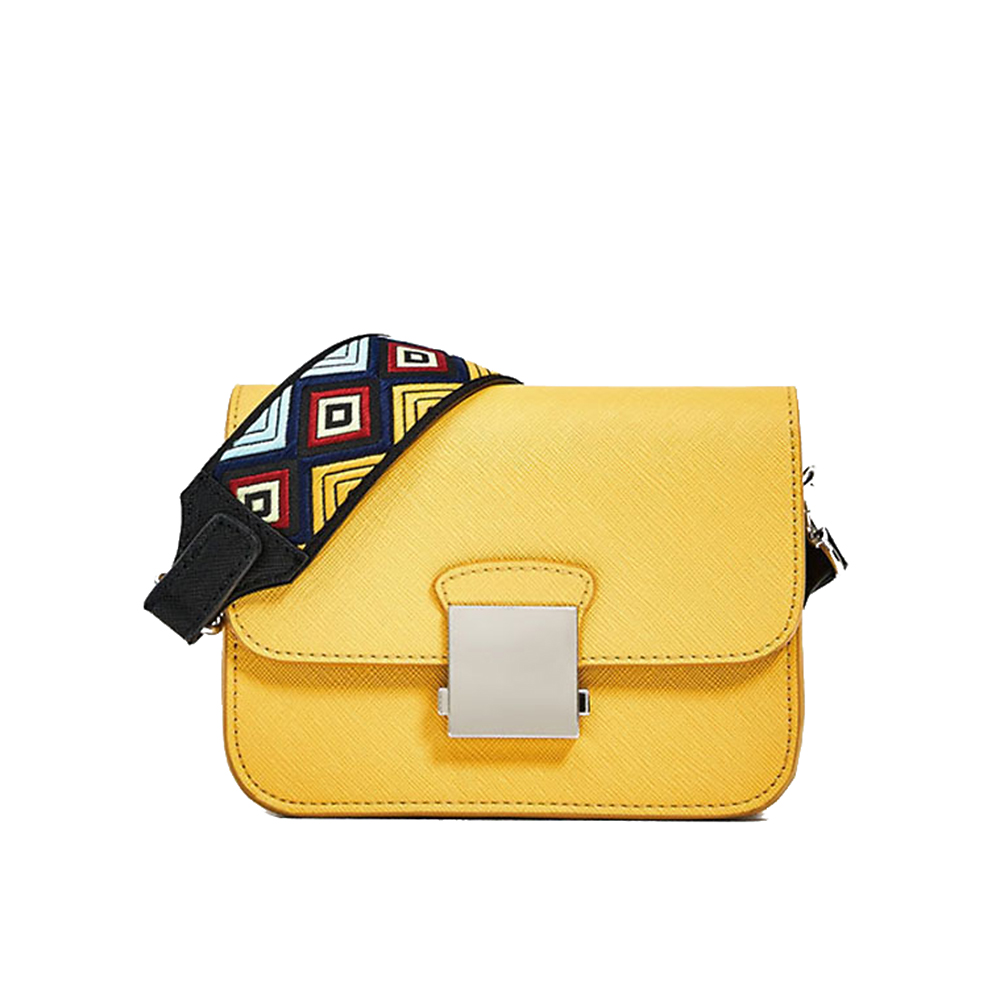 PU Leather Women Messenger Bag Highlight Yellow Small Wide Strap Shoulder Bags Ladies Solid Cross Body Bag solid black women wide strap competition
