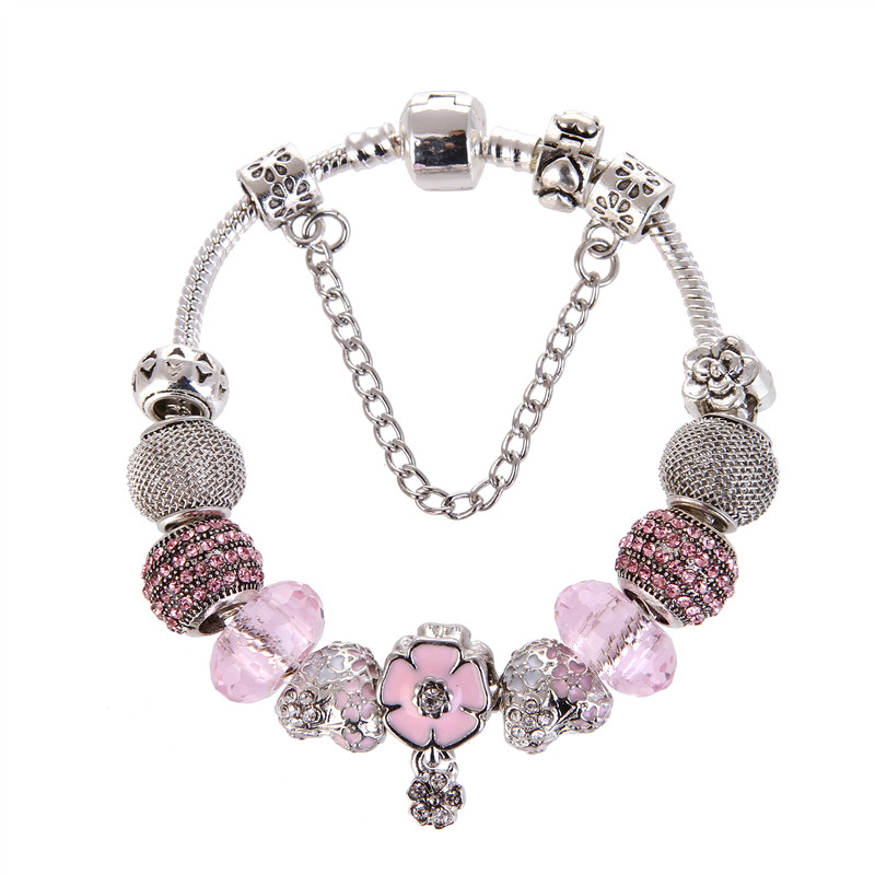 High Quality Pink crystal Heart Pendant Noble Pretty Charm Bracelet Pandora Bracelet For Women/Gril gift jewelry Drop Shipping