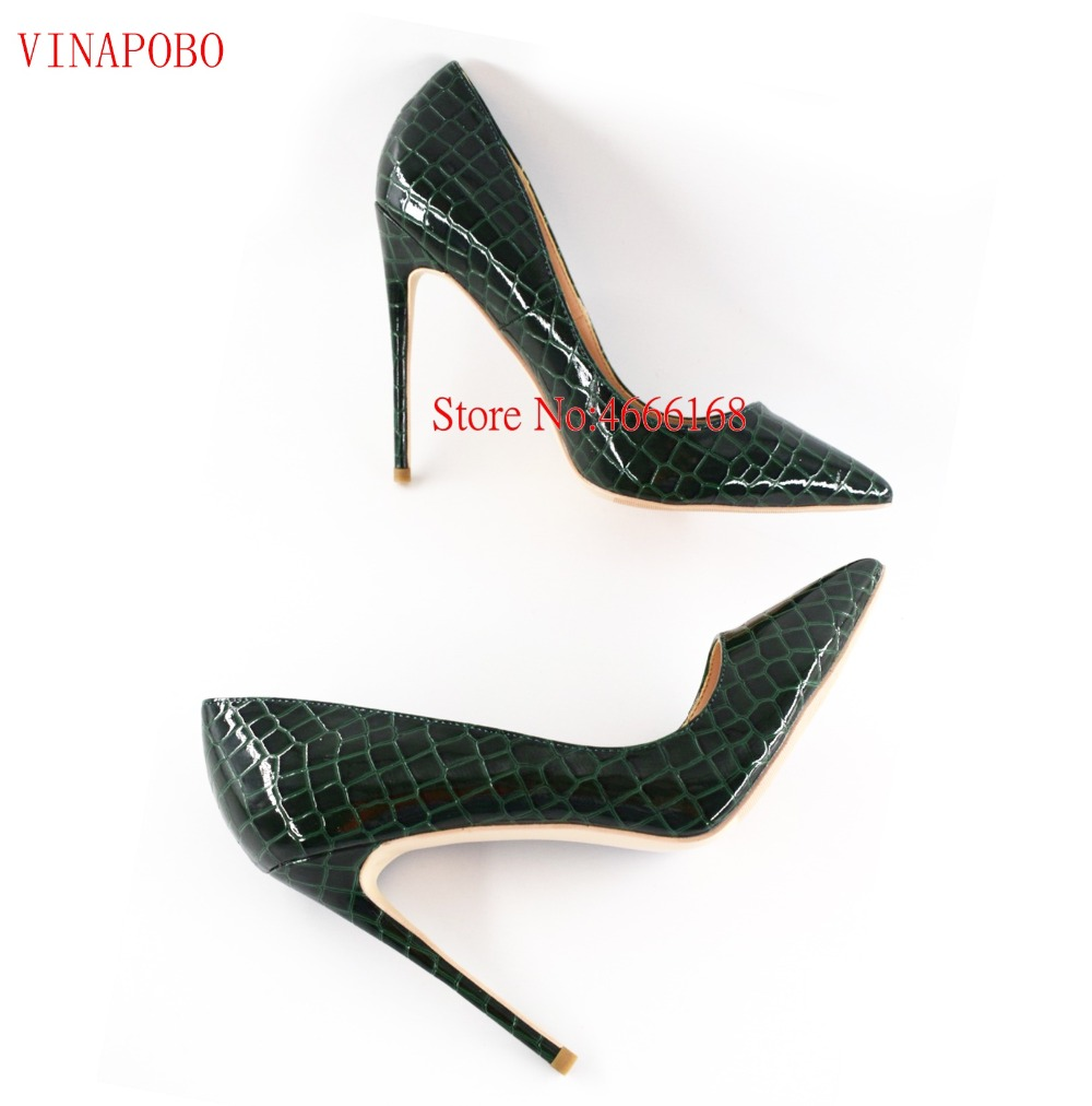 Vinapobo 2019 New Arrival Women Shoes Dark Green Snake Print Patent Leather 12 10 8cm Stilettos