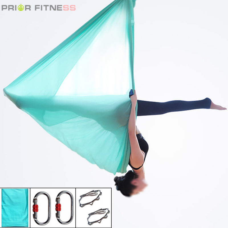 PRIOR FITNESS Ensemble de hamac de Yoga aérien haute résistance 5Mx2.8M Ceintures de Yoga Anti-gravité Swing pour inversion fly Air Nylon home gym