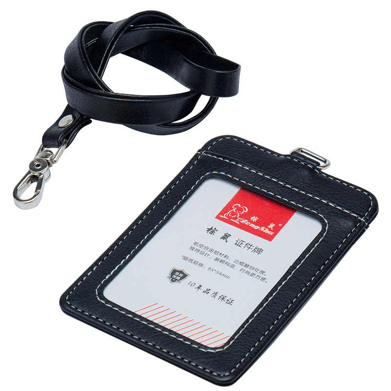 High quality brand fashion office ID card badge sets Men women standard badges PU leather bag with lanyard document cover black