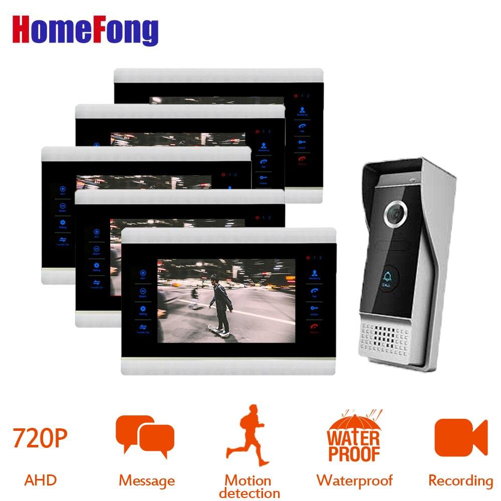 HomeFong 7 ''AHD Filaire Interphone Vidéo Interphone Avec Moniteur Mp4 Lecteur Soutien