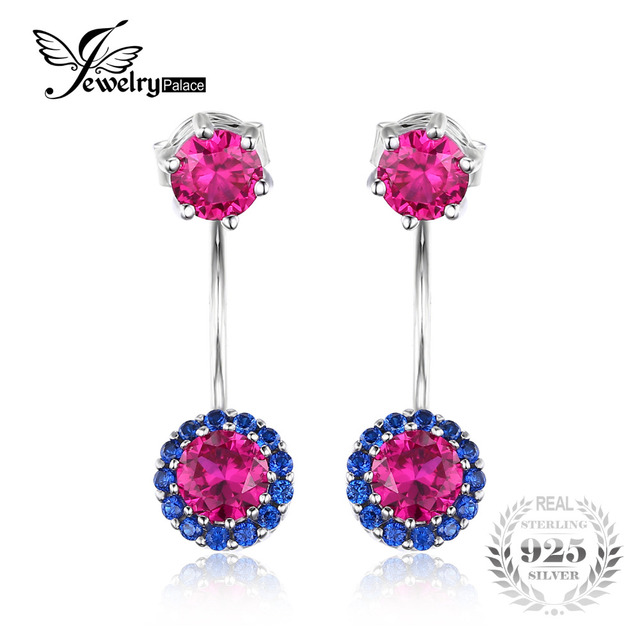 JewelryPalace Round 2.6ct Created Red Ruby Blue Spinel Earrings Jackets 925 Sterling Silver New Fashion Christmas Gift For Women
