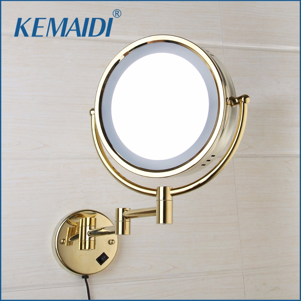 KEMAIDI Makeup Mirrors LED Wall Mounted Extending Folding Double Side LED Light Mirror 3x Magnification Bath&Toilet Mirror