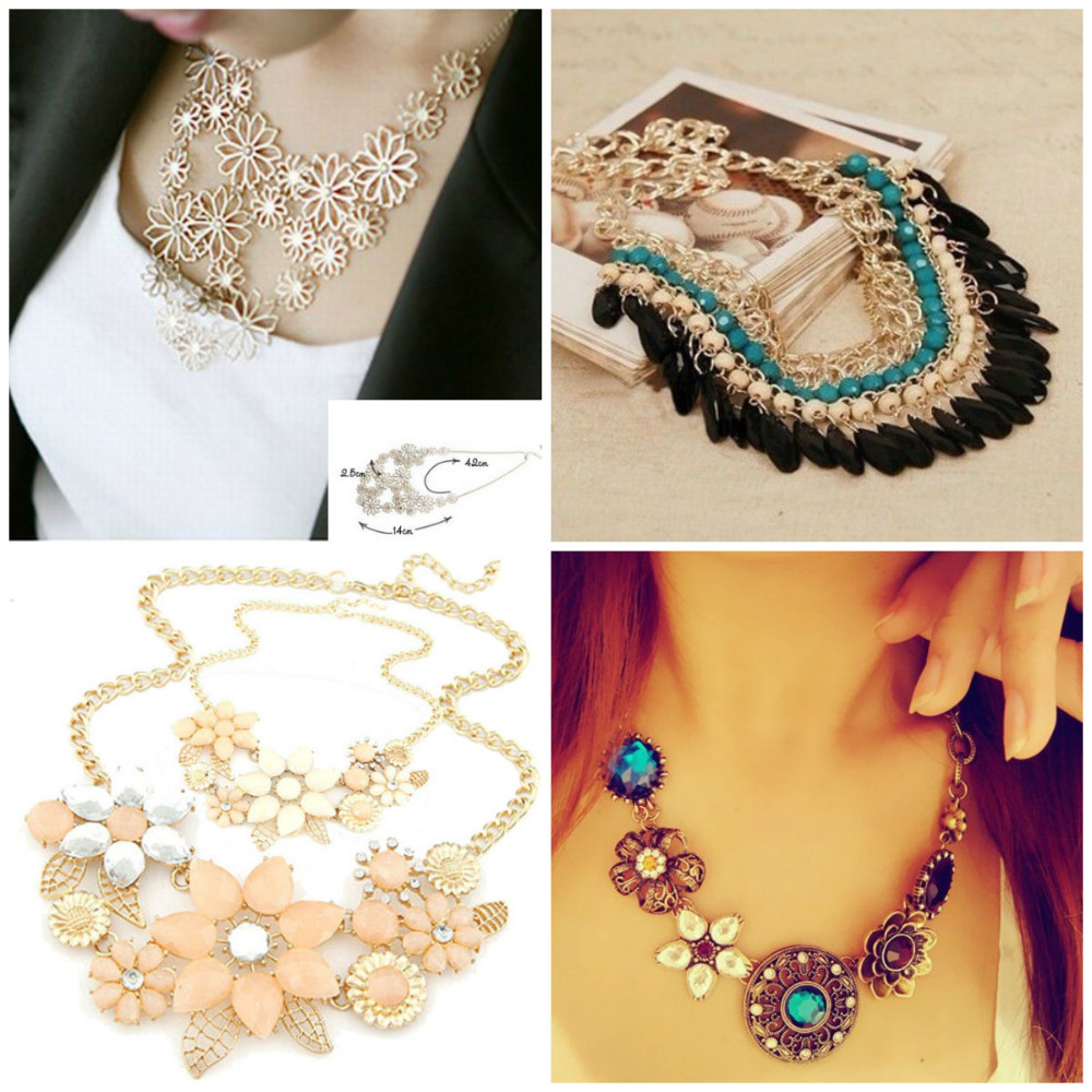 New Hot Multilayer gold hollow flowers choker bib statement necklace for women Free Shipping