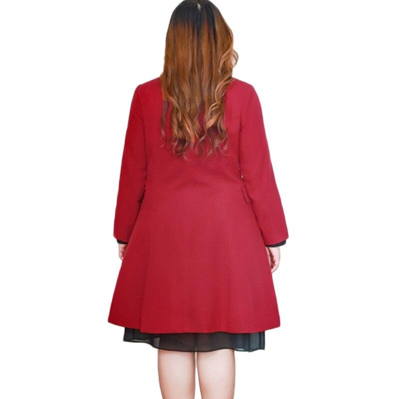 Femmes La Double Coréenne Plus D'hiver De 10xl Pardessus Cou Manteau Haute A1049 Taille Chaud Laine Red 4xl Qualité Boutonnage À Des O Long dqt7Sxt