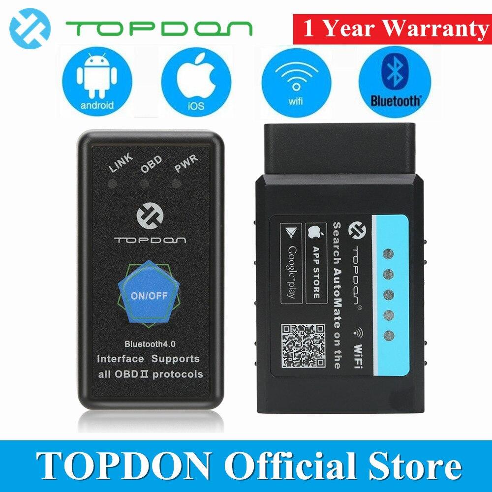 TOPDON Automatizzare V1.5 ELM327 WIFI Bluetooth OBD2 Scanner Automotive OBD Strumento di Diagnostica Super Mini ELM 327 Lettore di Codice di Scansione Strumento